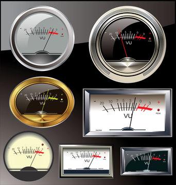 Set of 6 different vu meters