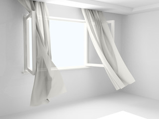 Open window with curtains