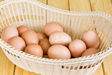 Brown eggs in a Wicker basket