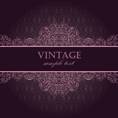 Elegant vintage card with damask seamless wallpaper