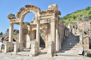 Front view of the Temple of Hadrien in Ephesus