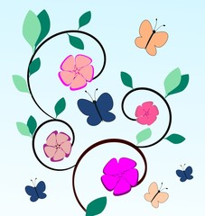 Fantasy flowers and blue and pink butterflies