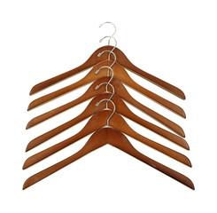 Wood coat hangers in row