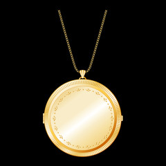 Vintage Gold Keepsake Locket with detailed engraving, necklace