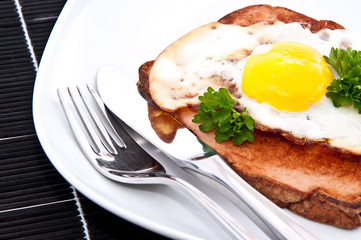 Meat loaf with fried egg