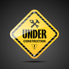Under construction sign black and yellow, illustration