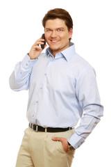 Young bussinessman with great smile on cellphone isolated