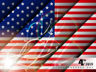 Abstract American flag background with floral effects.