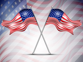 Two American Flag waving on seamless flag background for 4 July