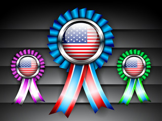 Set of ribbons or batch for 4 July American Independence Day