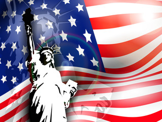 Statue of liberty on American flag  background.