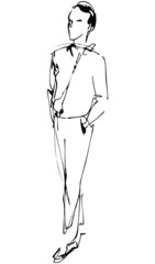 sketch of fellow full length hand in the pockets of pantaloons