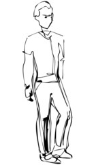 a sketch of standing fellow full length