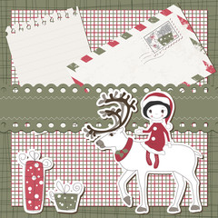Vector Christmas and New Year scrapbook