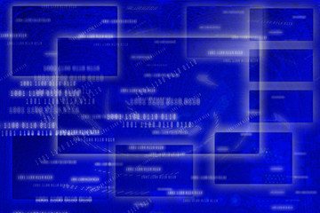 Blue Abstract Frame Background, Digital Style