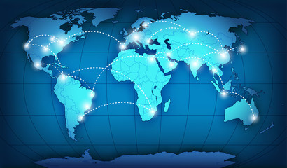 Autocollant pour porte Carte du monde World network