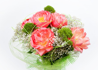 bunch of peony flowers on white background