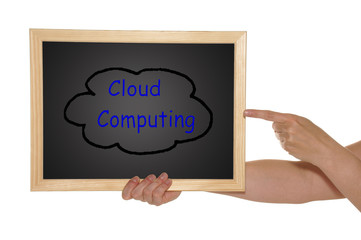 hands with blackboard - Cloud Computing