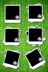 Set of photoframe with soccer  ball on artificial grass field te