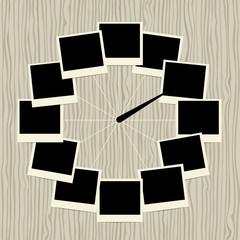 Creative clock design with photo frames
