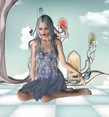 Foto op Aluminium Feeën en elfen Blue fairy