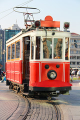 Red vintage tram in Istanbul
