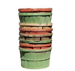 old colorful wooden baskets, isolated