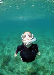 Fototapete - Woman snorkeling underwater in ocean