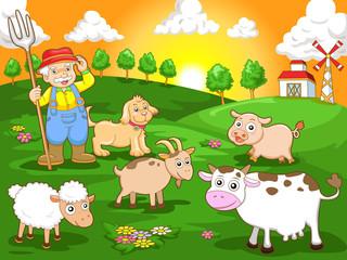 Foto auf Leinwand Bauernhof happy farm