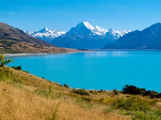Keuken foto achterwand Nieuw Zeeland Emerald glacier Lake Pukaki, Aoraki Mt Cook NP, NZ