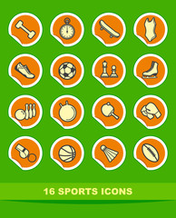 Simple sports icons on stickers