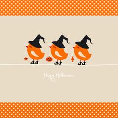 3 Halloween Birds Holding Pumpkin/Star/Candy Stars