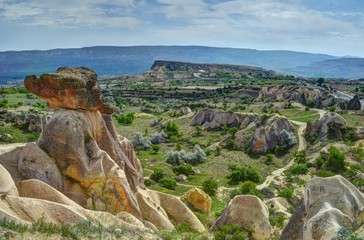 Cappadocian land surrounded by fairy chimneys