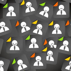 Abstract crowd of social media account avatars. Seamless backgro