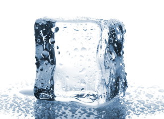 Ice cube with water drops