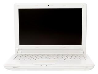 White open laptop on white background