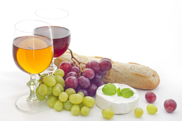 Wine red ,white grapes and cheese