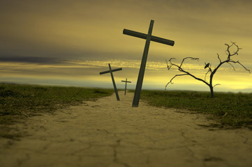 three easter crosses religion abstract