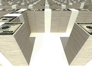 maze of stacks of dollars 3
