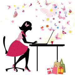 Printed roller blinds Floral woman Girl loves to shop online