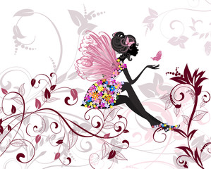 Aluminium Prints Floral woman Flower Fairy with butterflies