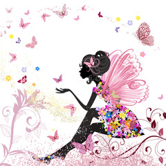 Aluminium Prints Floral woman Flower Fairy in the environment of butterflies
