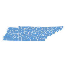 State map of Tennessee by counties
