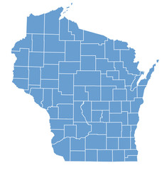 State Map of Wisconsin by counties