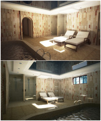 3d interior of the modern pool in the house