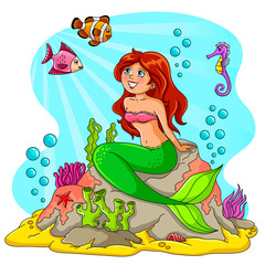 Autocollant pour porte Mermaid mermaid and her friends