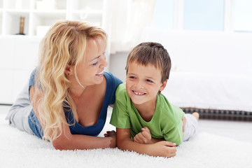 Happy morning - boy playing with mother