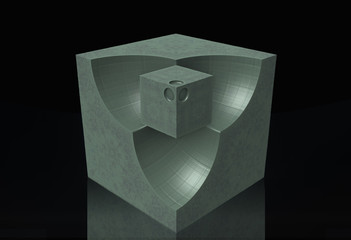 Cube, surface, perspective