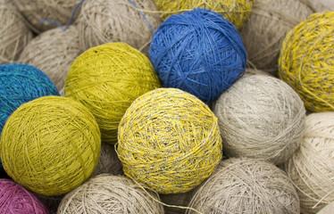 balls of yarn from natural fibers of hemp