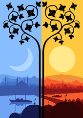 Vintage Arabic city landscape night and day cycle illustration b